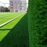 Football field with synthetic turf